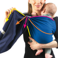 Keep adjusting the wrap by pulling each part of the tail, across the entire width of the baby carrier. Your wrap will then fit you and your baby perfectly, and he will be well supported.