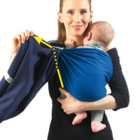 Keep holding the baby up with one hand. With the other hand, grab the outer hem of the tail, like in step 7, and pull it up...